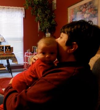 My mom with her first grandchild, Ian, my nephew.